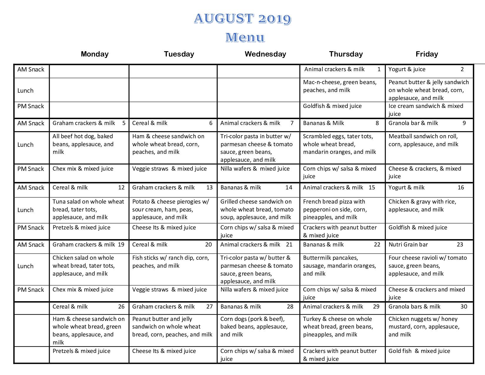 august 2019 menu