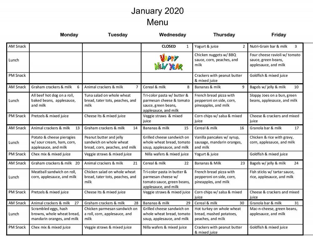 jan 2020 menu